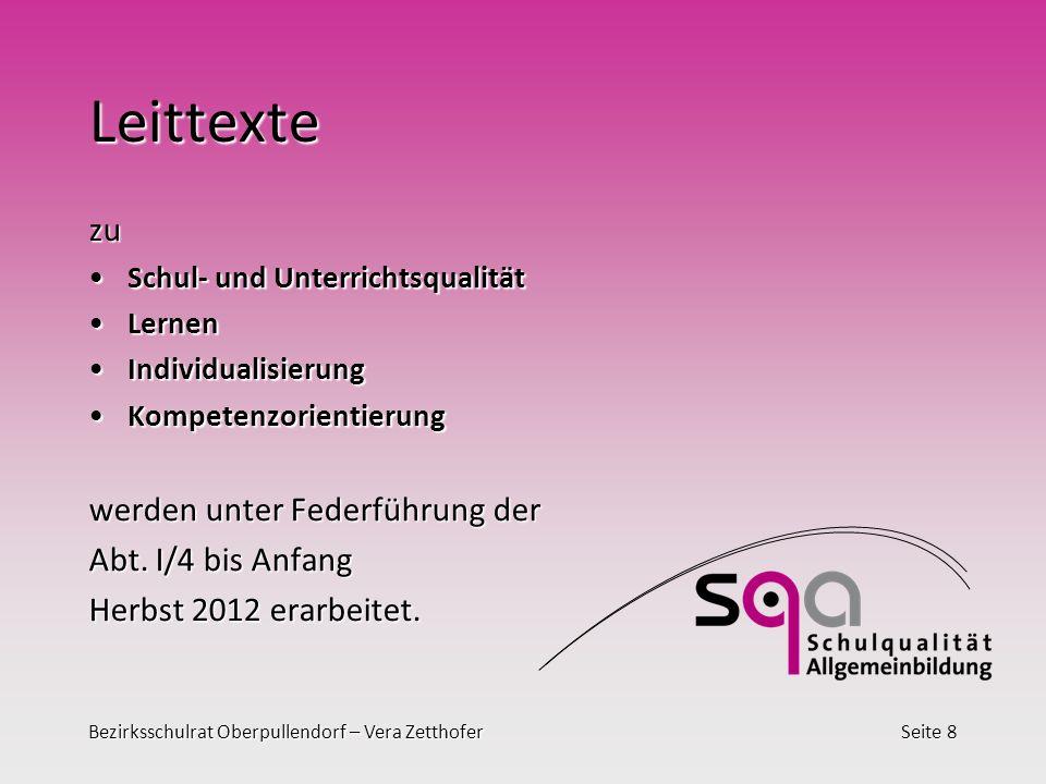 Bezirksschulrat Oberpullendorf – Vera ZetthoferSeite 8 Leittexte zu Schul- und UnterrichtsqualitätSchul- und Unterrichtsqualität LernenLernen Individu