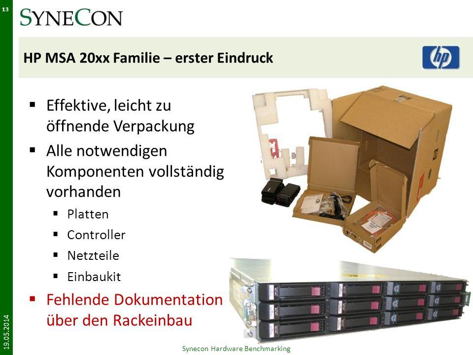 HP MSA 20xx Familie – erster Eindruck Effektive, leicht zu öffnende Verpackung Alle notwendigen Komponenten vollständig vorhanden Platten Controller Netzteile Einbaukit Fehlende Dokumentation über den Rackeinbau 19.05.2014 Synecon Hardware Benchmarking 13