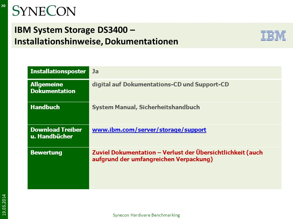 IBM System Storage DS3400 – Installationshinweise, Dokumentationen 19.05.2014 Synecon Hardware Benchmarking 20 InstallationsposterJa Allgemeine Dokume