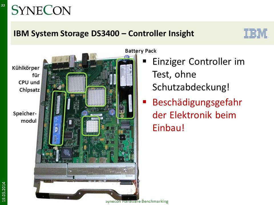 IBM System Storage DS3400 – Controller Insight Einziger Controller im Test, ohne Schutzabdeckung.