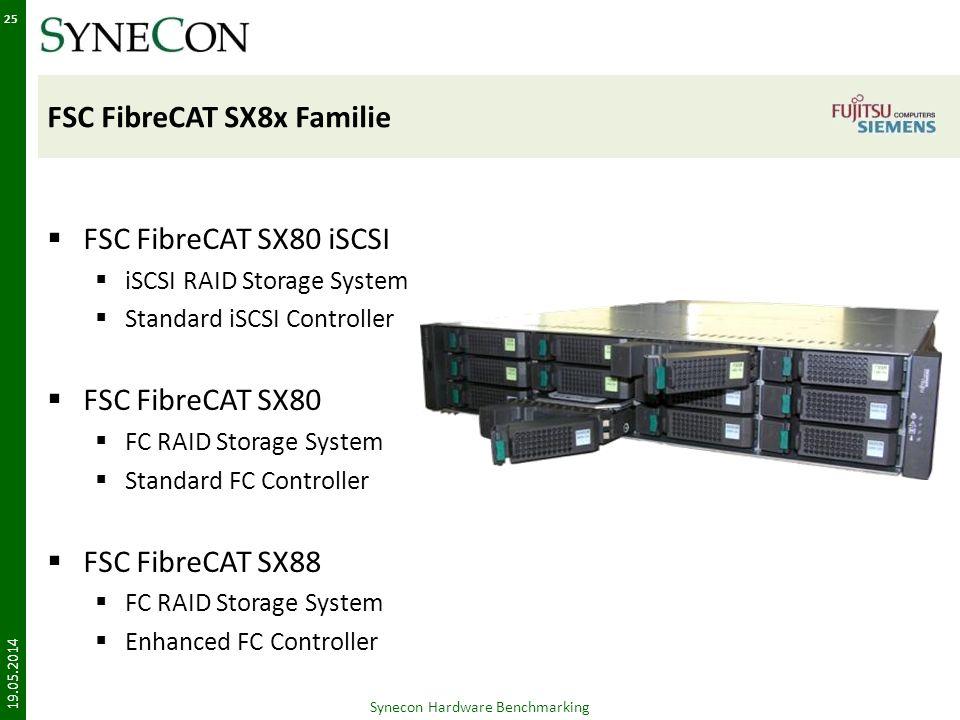 FSC FibreCAT SX8x Familie FSC FibreCAT SX80 iSCSI iSCSI RAID Storage System Standard iSCSI Controller FSC FibreCAT SX80 FC RAID Storage System Standard FC Controller FSC FibreCAT SX88 FC RAID Storage System Enhanced FC Controller 19.05.2014 Synecon Hardware Benchmarking 25