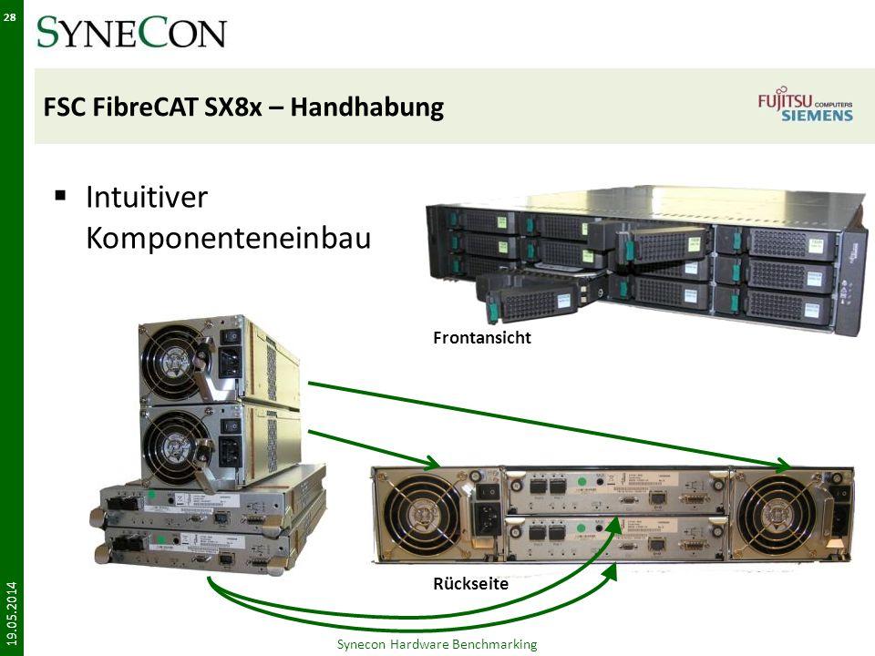 FSC FibreCAT SX8x – Handhabung Intuitiver Komponenteneinbau 19.05.2014 Synecon Hardware Benchmarking 28 Frontansicht Rückseite