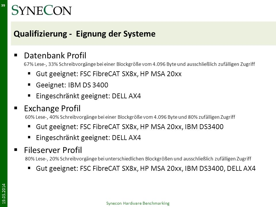 Qualifizierung - Eignung der Systeme Datenbank Profil 67% Lese-, 33% Schreibvorgänge bei einer Blockgröße vom 4.096 Byte und ausschließlich zufälligen Zugriff Gut geeignet: FSC FibreCAT SX8x, HP MSA 20xx Geeignet: IBM DS 3400 Eingeschränkt geeignet: DELL AX4 Exchange Profil 60% Lese-, 40% Schreibvorgänge bei einer Blockgröße vom 4.096 Byte und 80% zufälligen Zugriff Gut geeignet: FSC FibreCAT SX8x, HP MSA 20xx, IBM DS3400 Eingeschränkt geeignet: DELL AX4 Fileserver Profil 80% Lese-, 20% Schreibvorgänge bei unterschiedlichen Blockgrößen und ausschließlich zufälligen Zugriff Gut geeignet: FSC FibreCAT SX8x, HP MSA 20xx, IBM DS3400, DELL AX4 19.05.2014 Synecon Hardware Benchmarking 39