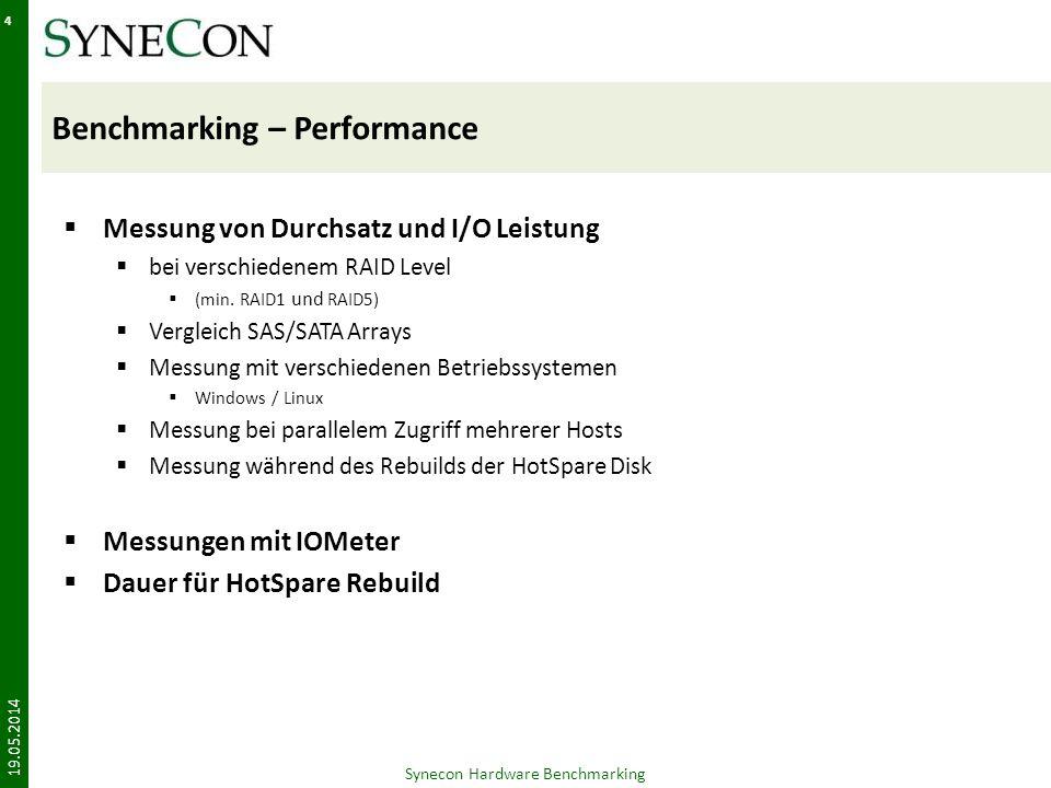Benchmarking – Performance Messung von Durchsatz und I/O Leistung bei verschiedenem RAID Level (min.