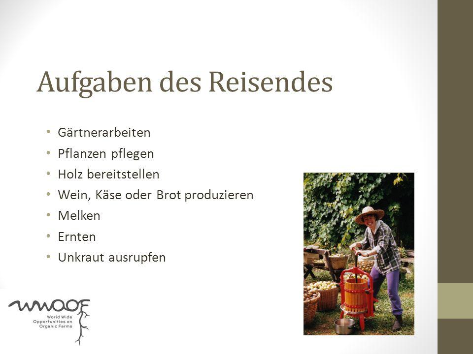 Aufgaben des Reisendes Gärtnerarbeiten Pflanzen pflegen Holz bereitstellen Wein, Käse oder Brot produzieren Melken Ernten Unkraut ausrupfen
