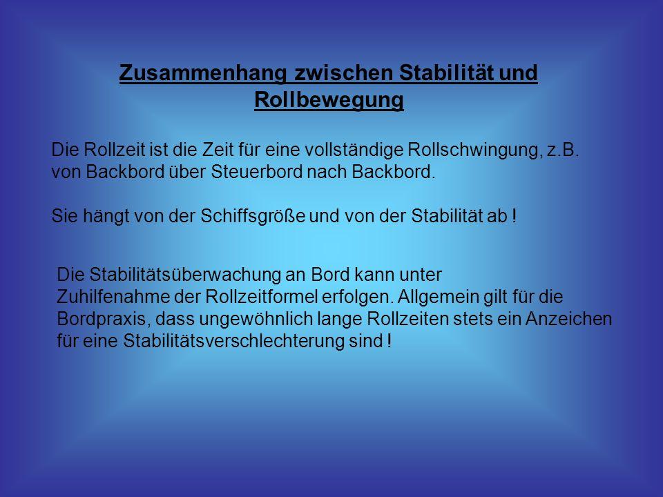 Zusammenhang zwischen Stabilität und Rollbewegung Die Rollzeit ist die Zeit für eine vollständige Rollschwingung, z.B. von Backbord über Steuerbord na