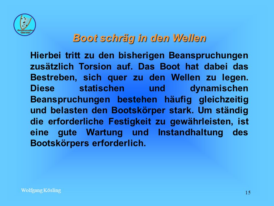 Wolfgang Kösling 15 Boot schräg in den Wellen Hierbei tritt zu den bisherigen Beanspruchungen zusätzlich Torsion auf. Das Boot hat dabei das Bestreben