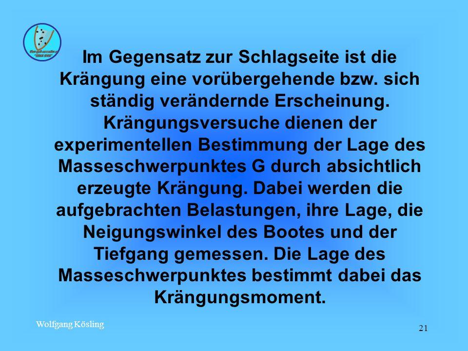 Wolfgang Kösling 21 Im Gegensatz zur Schlagseite ist die Krängung eine vorübergehende bzw. sich ständig verändernde Erscheinung. Krängungsversuche die