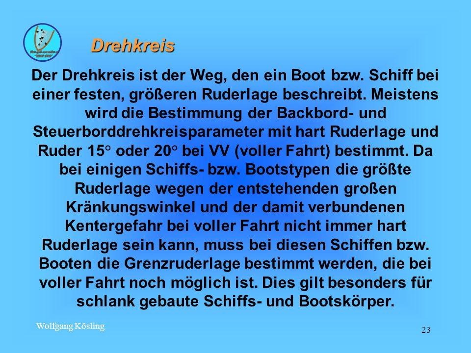 Wolfgang Kösling 23 Drehkreis Der Drehkreis ist der Weg, den ein Boot bzw. Schiff bei einer festen, größeren Ruderlage beschreibt. Meistens wird die B