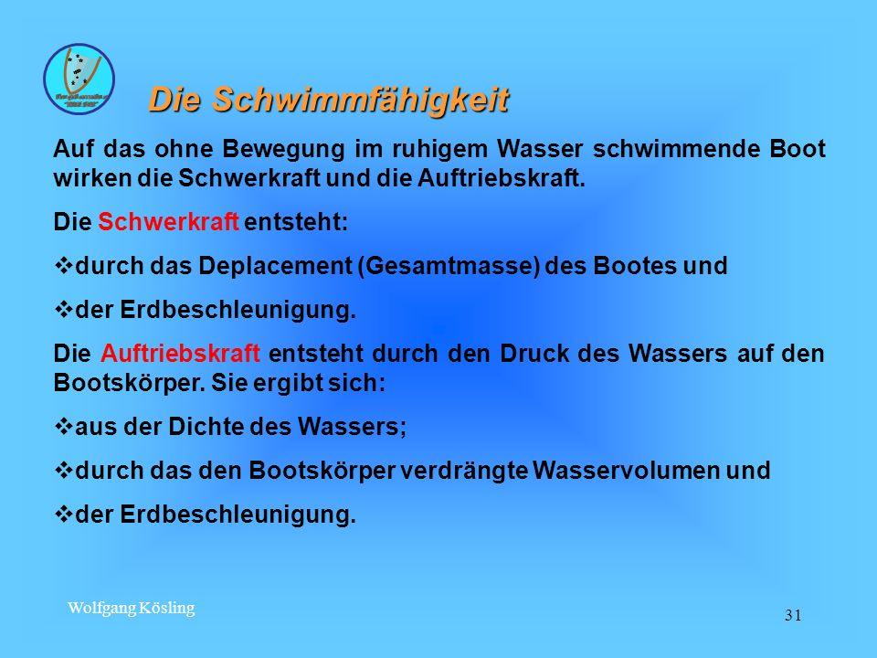 Wolfgang Kösling 31 Die Schwimmfähigkeit Auf das ohne Bewegung im ruhigem Wasser schwimmende Boot wirken die Schwerkraft und die Auftriebskraft. Die S