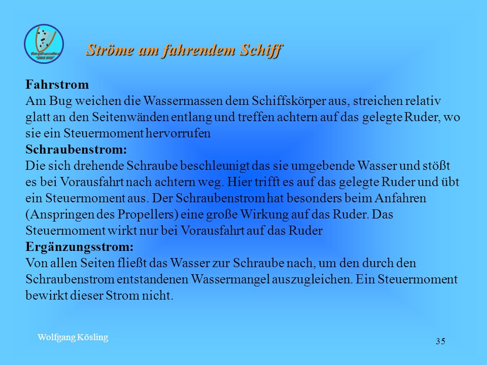 Wolfgang Kösling 35 Ströme am fahrendem Schiff Fahrstrom Am Bug weichen die Wassermassen dem Schiffskörper aus, streichen relativ glatt an den Seitenw