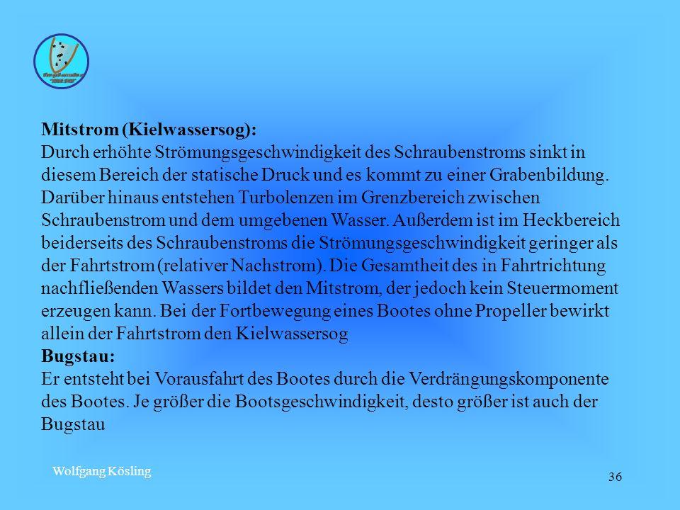 Wolfgang Kösling 36 Mitstrom (Kielwassersog): Durch erhöhte Strömungsgeschwindigkeit des Schraubenstroms sinkt in diesem Bereich der statische Druck u