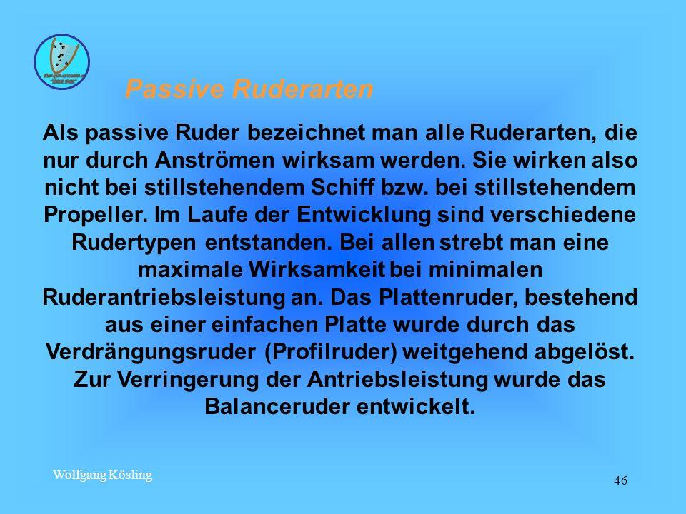 Wolfgang Kösling 46 Passive Ruderarten Als passive Ruder bezeichnet man alle Ruderarten, die nur durch Anströmen wirksam werden. Sie wirken also nicht
