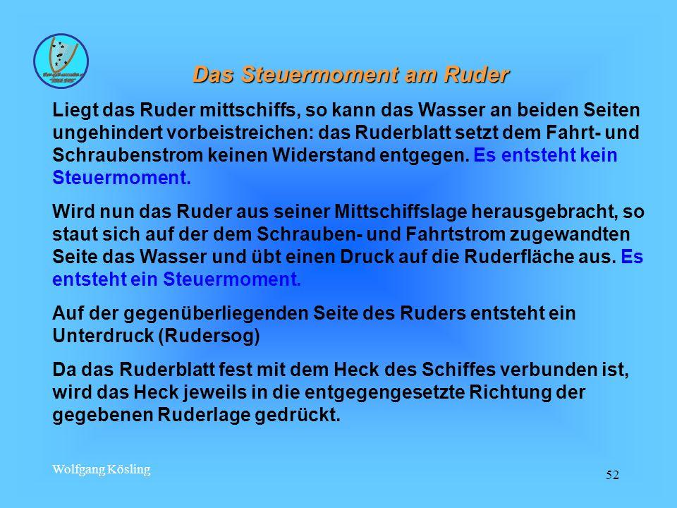Wolfgang Kösling 52 Das Steuermoment am Ruder Liegt das Ruder mittschiffs, so kann das Wasser an beiden Seiten ungehindert vorbeistreichen: das Ruderb