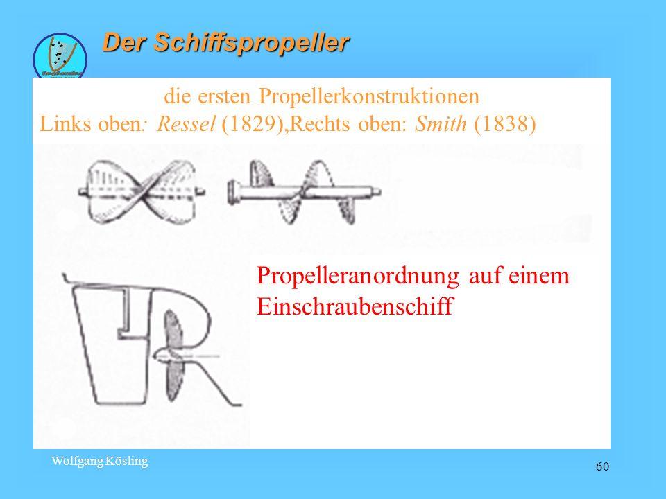 Wolfgang Kösling 60 Der Schiffspropeller die ersten Propellerkonstruktionen Links oben: Ressel (1829),Rechts oben: Smith (1838) Propelleranordnung auf
