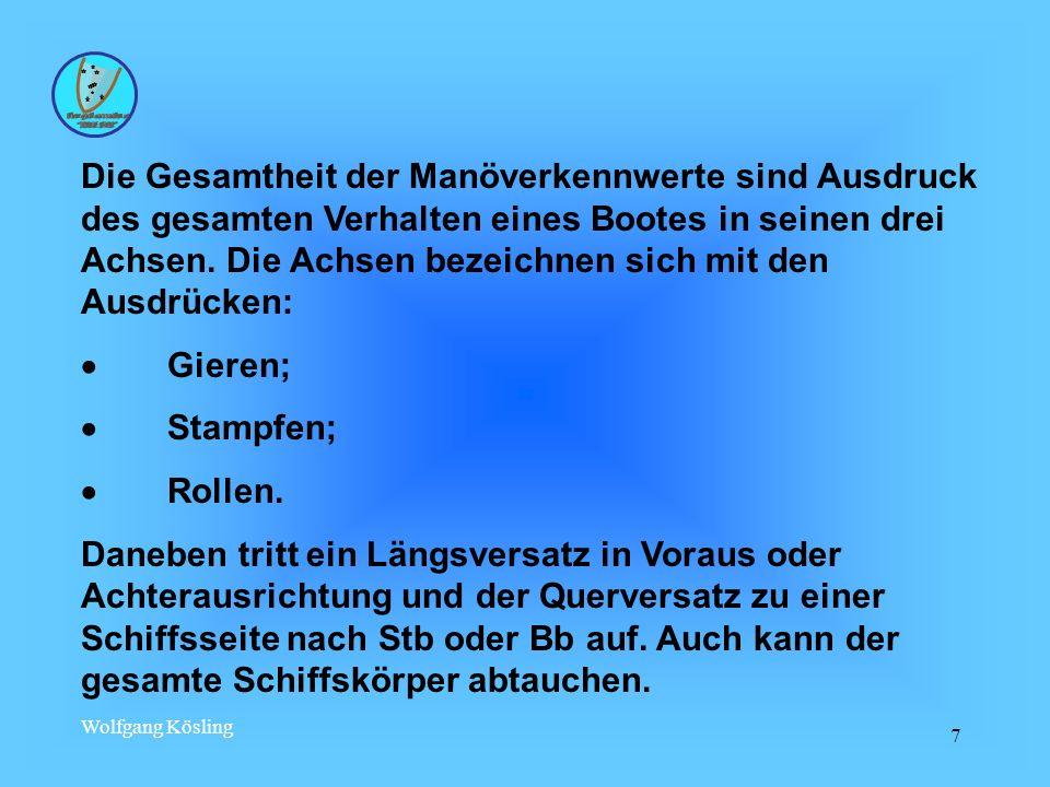 Wolfgang Kösling 7 Die Gesamtheit der Manöverkennwerte sind Ausdruck des gesamten Verhalten eines Bootes in seinen drei Achsen. Die Achsen bezeichnen