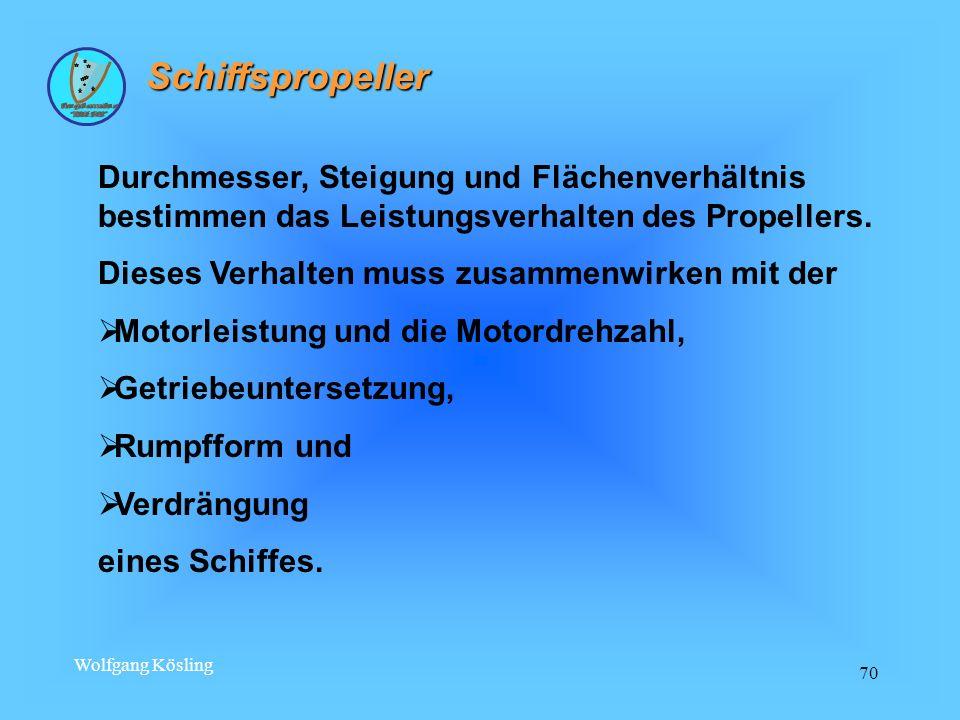 Wolfgang Kösling 70 Schiffspropeller Durchmesser, Steigung und Flächenverhältnis bestimmen das Leistungsverhalten des Propellers. Dieses Verhalten mus