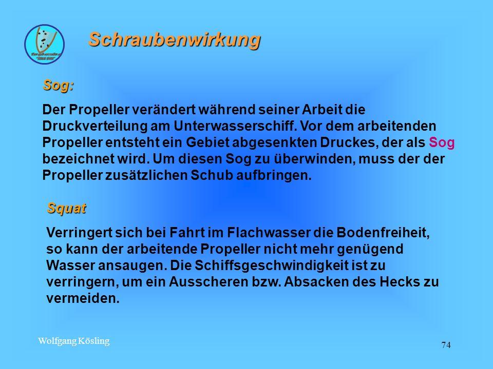 Wolfgang Kösling 74 Schraubenwirkung Sog: Der Propeller verändert während seiner Arbeit die Druckverteilung am Unterwasserschiff. Vor dem arbeitenden