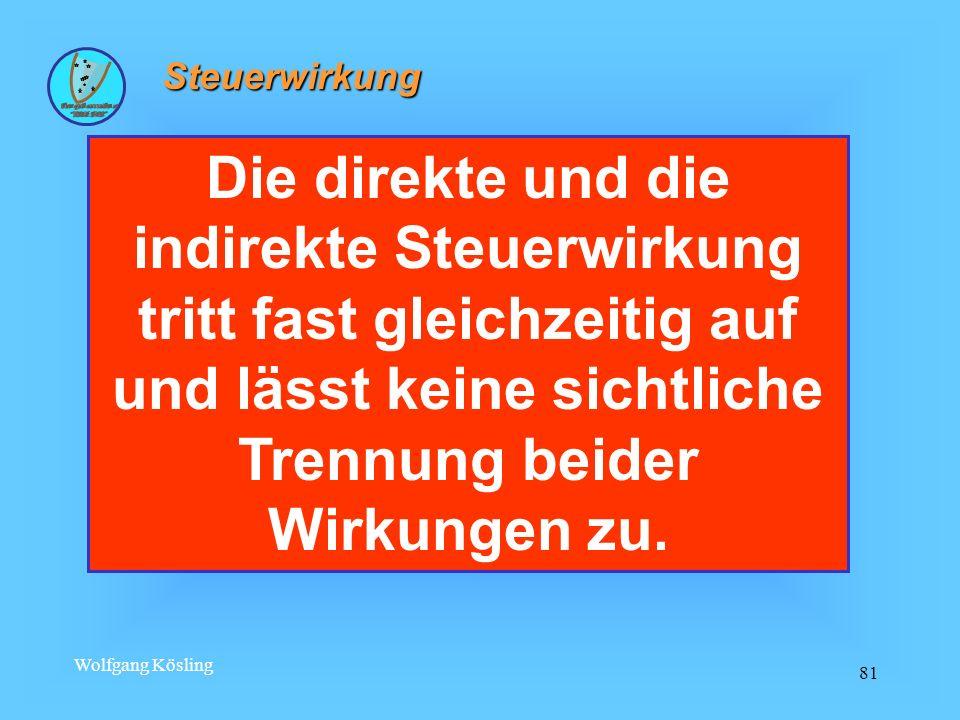 Wolfgang Kösling 81 Steuerwirkung Die direkte und die indirekte Steuerwirkung tritt fast gleichzeitig auf und lässt keine sichtliche Trennung beider W