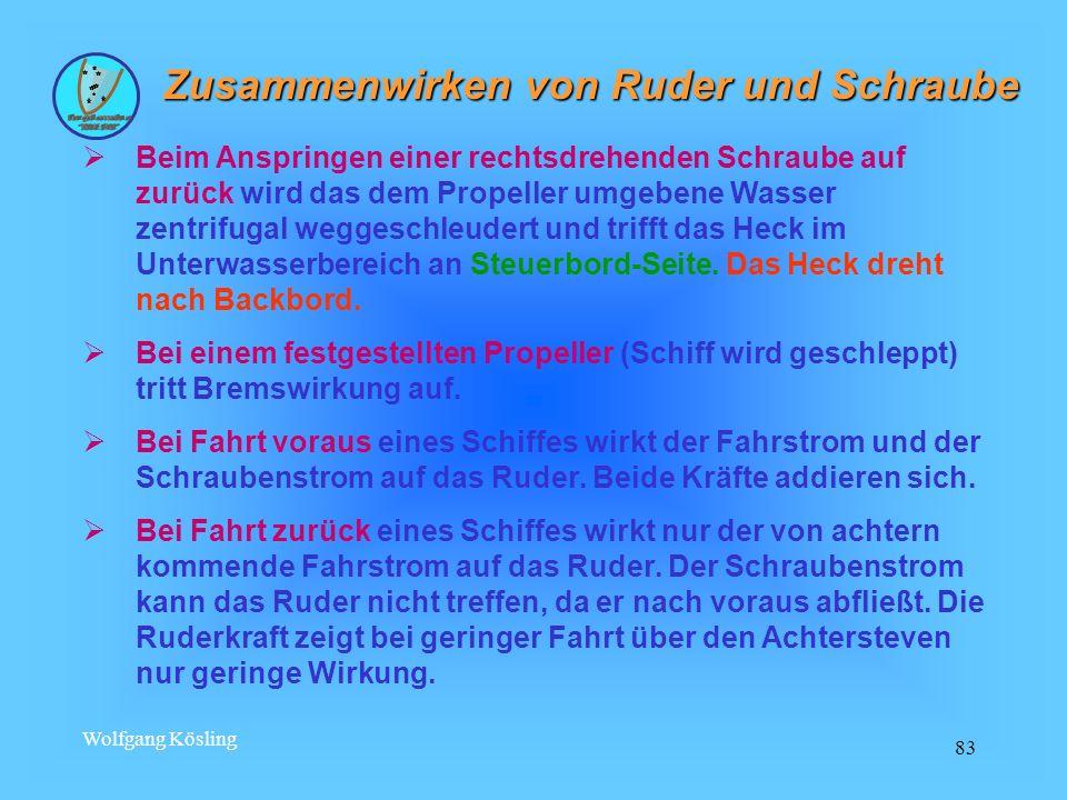 Wolfgang Kösling 83 Zusammenwirken von Ruder und Schraube Beim Anspringen einer rechtsdrehenden Schraube auf zurück wird das dem Propeller umgebene Wa
