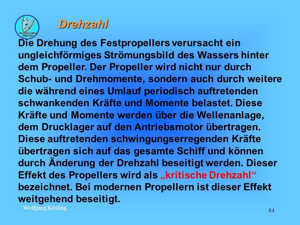Wolfgang Kösling 84 Drehzahl Die Drehung des Festpropellers verursacht ein ungleichförmiges Strömungsbild des Wassers hinter dem Propeller. Der Propel