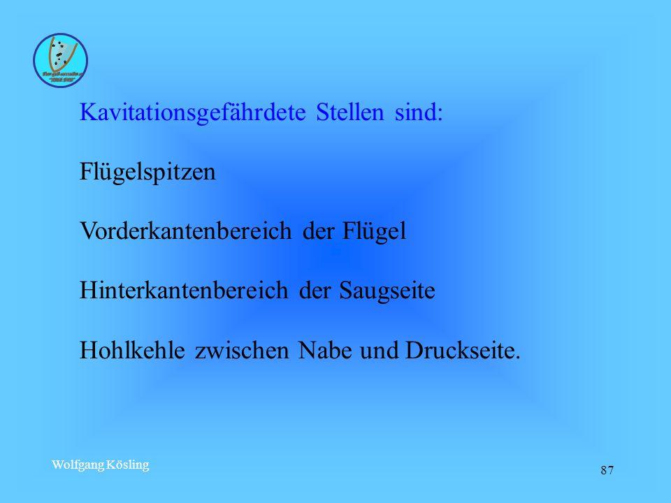 Wolfgang Kösling 87 Kavitationsgefährdete Stellen sind: Flügelspitzen Vorderkantenbereich der Flügel Hinterkantenbereich der Saugseite Hohlkehle zwisc
