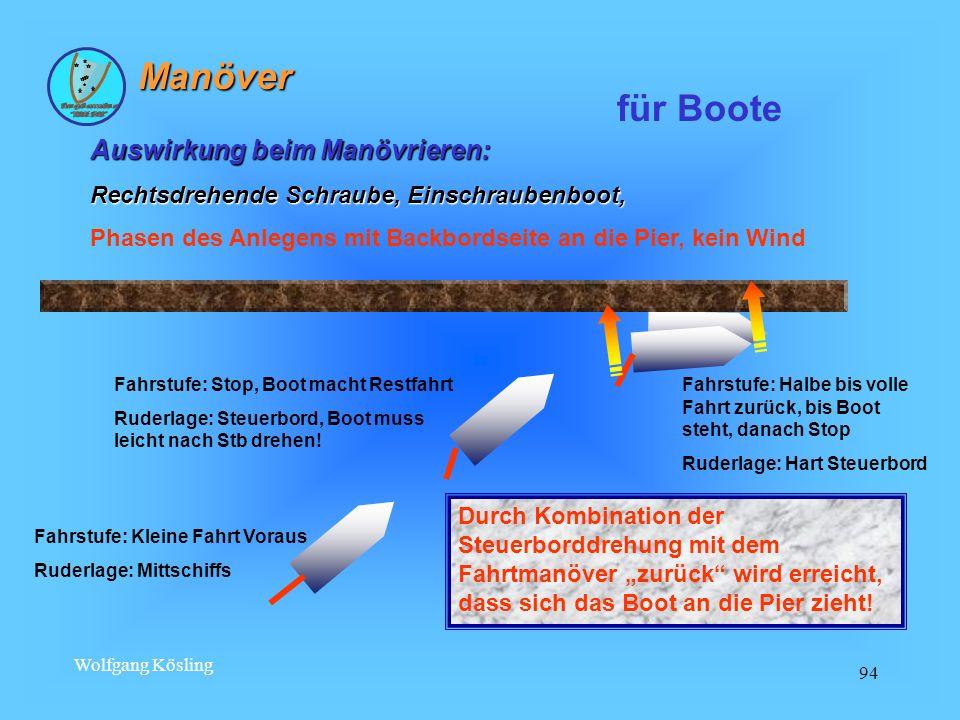 Wolfgang Kösling 94 Auswirkung beim Manövrieren: Rechtsdrehende Schraube, Einschraubenboot, Phasen des Anlegens mit Backbordseite an die Pier, kein Wi