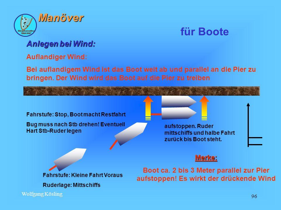 Wolfgang Kösling 96 Anlegen bei Wind: Auflandiger Wind: Bei auflandigem Wind ist das Boot weit ab und parallel an die Pier zu bringen. Der Wind wird d