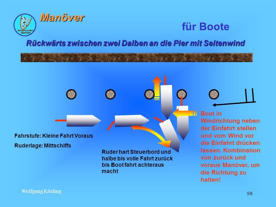 Wolfgang Kösling 98 Rückwärts zwischen zwei Dalben an die Pier mit Seitenwind für Boote Fahrstufe: Kleine Fahrt Voraus Ruderlage: Mittschiffs Ruder ha