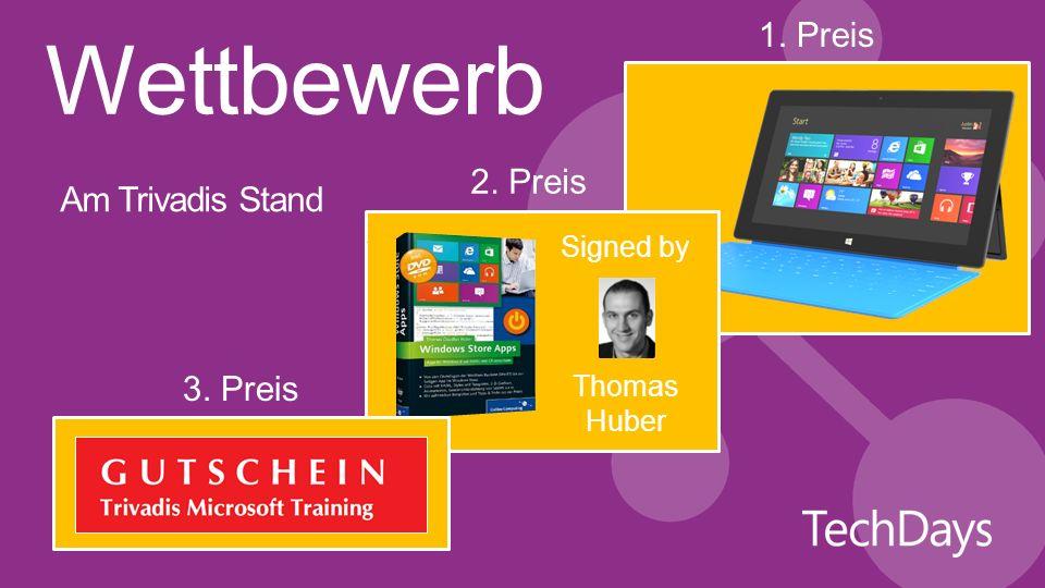 Am Trivadis Stand Signed by Thomas Huber 1. Preis 2. Preis 3. Preis Wettbewerb