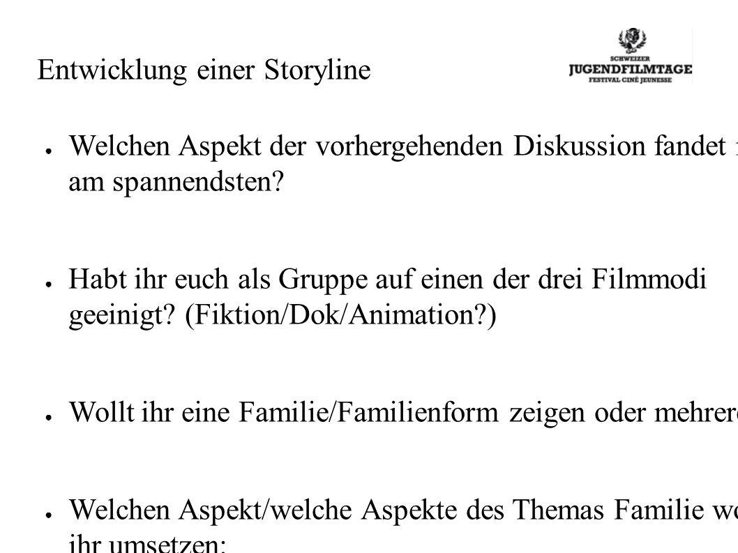 Entwicklung einer Storyline Welchen Aspekt der vorhergehenden Diskussion fandet ihr am spannendsten.