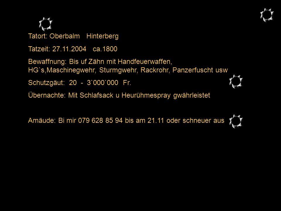 Tatort: Oberbalm Hinterberg Tatzeit: 27.11.2004 ca.1800 Bewaffnung: Bis uf Zähn mit Handfeuerwaffen, HG`s,Maschinegwehr, Sturmgwehr, Rackrohr, Panzerfuscht usw Schutzgäut: 20 - 3`000`000 Fr.
