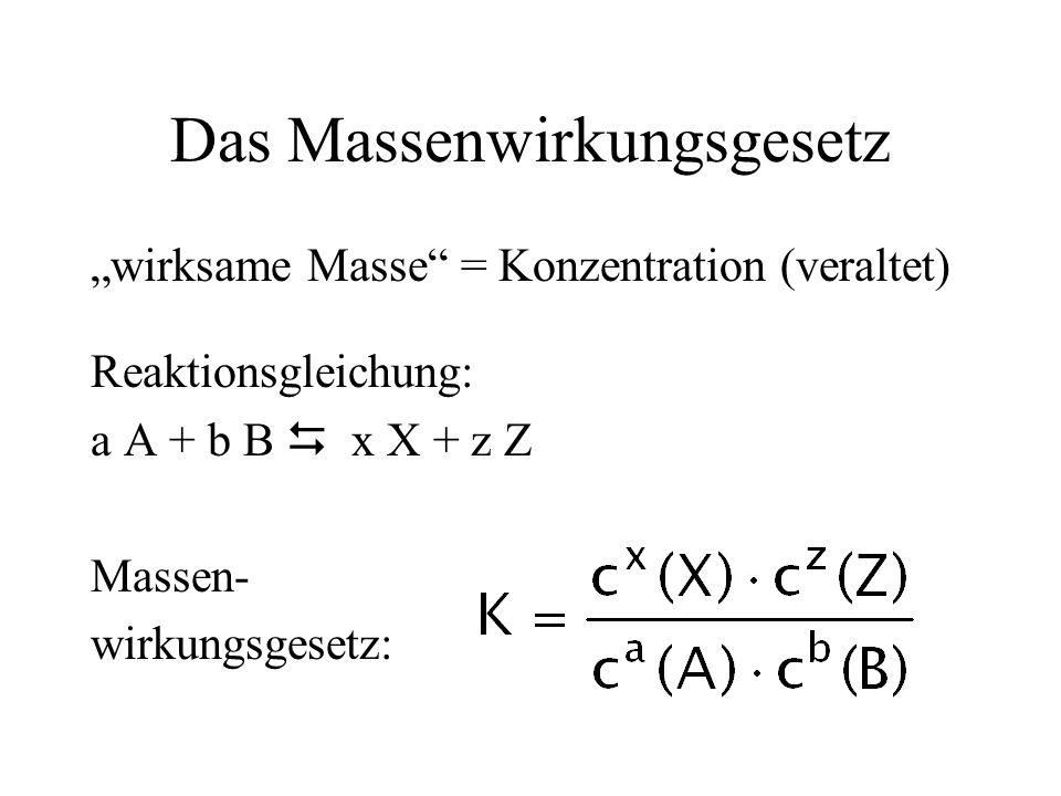 Das Massenwirkungsgesetz wirksame Masse = Konzentration (veraltet) Reaktionsgleichung: a A + b B x X + z Z Massen- wirkungsgesetz: