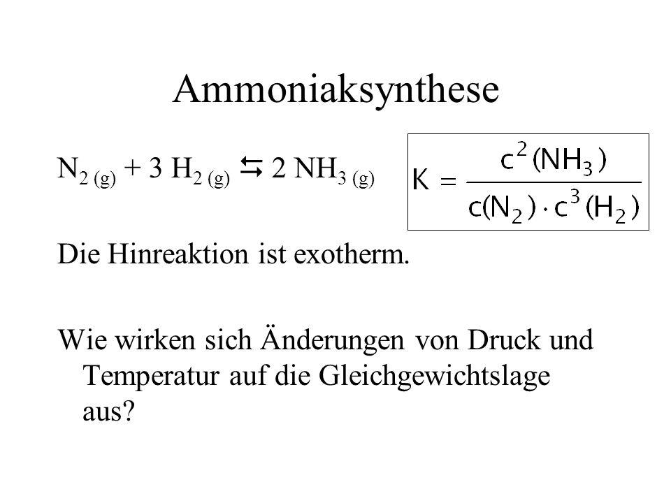 Ammoniaksynthese N 2 (g) + 3 H 2 (g) 2 NH 3 (g) Die Hinreaktion ist exotherm. Wie wirken sich Änderungen von Druck und Temperatur auf die Gleichgewich