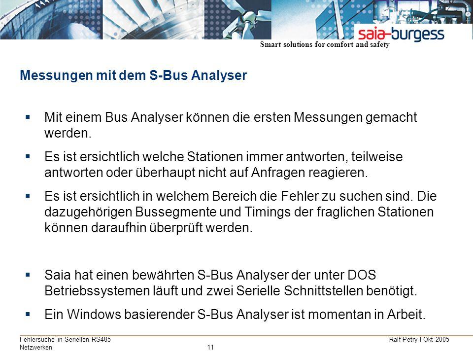 Smart solutions for comfort and safety Ralf Petry I Okt 2005Fehlersuche in Seriellen RS485 Netzwerken11 Messungen mit dem S-Bus Analyser Mit einem Bus