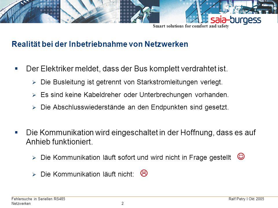 Ralf Petry I Okt 2005Fehlersuche in Seriellen RS485 Netzwerken2 Realität bei der Inbetriebnahme von Netzwerken Der Elektriker meldet, dass der Bus kom