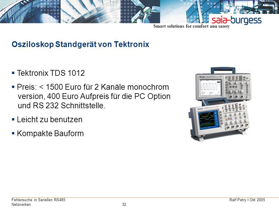 Smart solutions for comfort and safety Ralf Petry I Okt 2005Fehlersuche in Seriellen RS485 Netzwerken32 Osziloskop Standgerät von Tektronix Tektronix