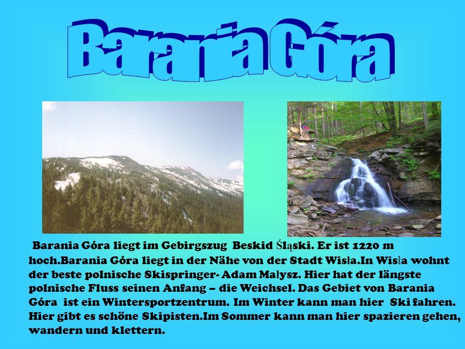 Barania Góra liegt im Gebirgszug Beskid Ś l ą ski. Er ist 1220 m hoch.Barania Góra liegt in der Nähe von der Stadt Wis ł a.In Wis ł a wohnt der beste