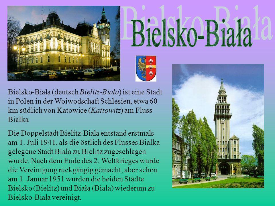 Bielsko-Biała (deutsch Bielitz-Biala) ist eine Stadt in Polen in der Woiwodschaft Schlesien, etwa 60 km südlich von Katowice (Kattowitz) am Fluss Biał