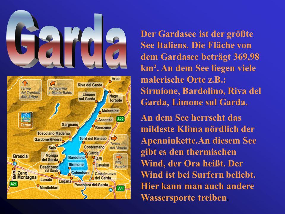 Der Seespiegel liegt im Mittel bei 193 m ü.d.M. Der See ist 66 km lang und bis zu 10 km breit. Er ist der zweitgrößte See Italiens. Die Fläche von der