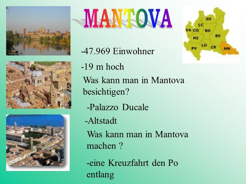 -19 m hoch -47.969 Einwohner Was kann man in Mantova besichtigen.