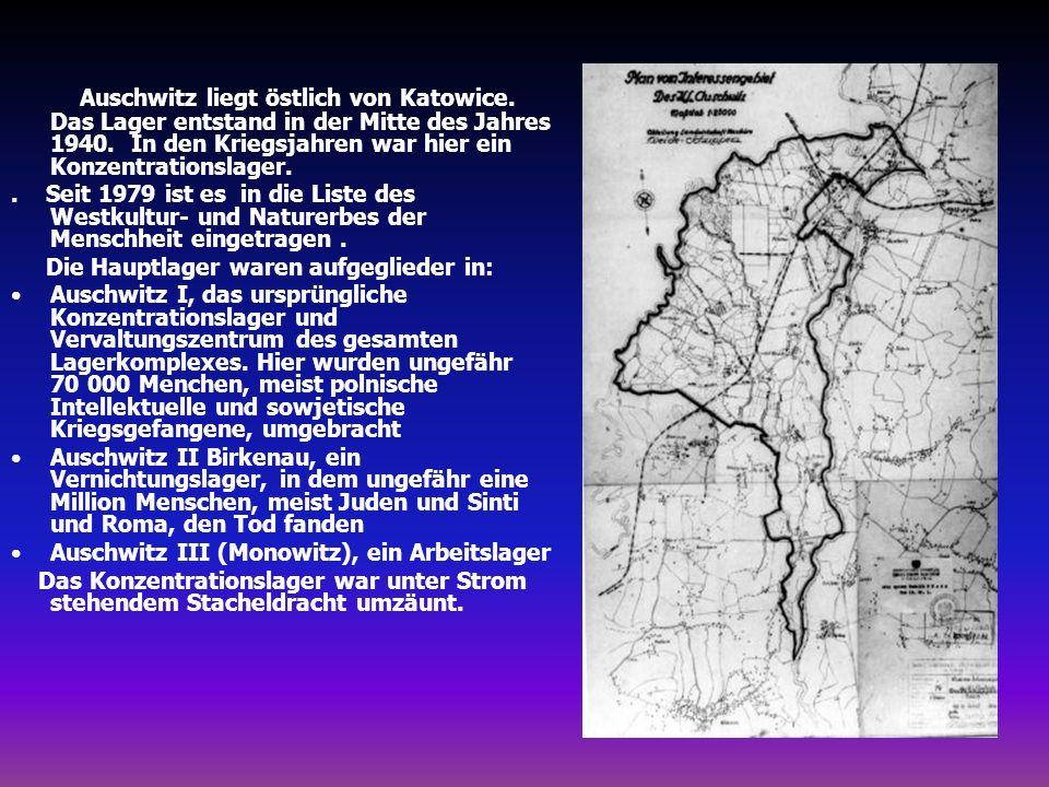 Auschwitz liegt östlich von Katowice. Das Lager entstand in der Mitte des Jahres 1940. In den Kriegsjahren war hier ein Konzentrationslager.. Seit 197