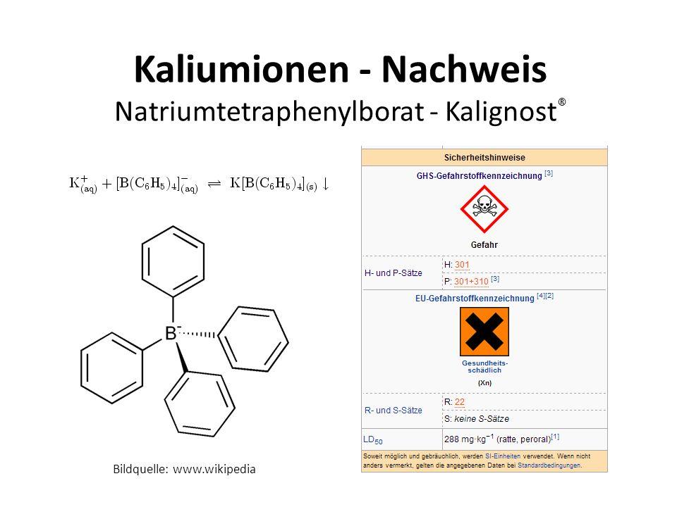 Kaliumionen - Nachweis Natriumtetraphenylborat - Kalignost ® Bildquelle: www.wikipedia