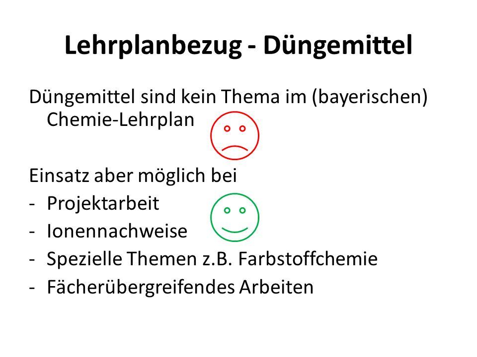 Lehrplanbezug - Düngemittel Düngemittel sind kein Thema im (bayerischen) Chemie-Lehrplan Einsatz aber möglich bei -Projektarbeit -Ionennachweise -Spez