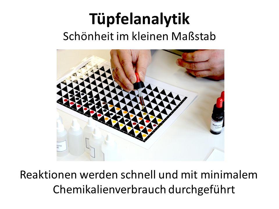 Tüpfelanalytik Schönheit im kleinen Maßstab Reaktionen werden schnell und mit minimalem Chemikalienverbrauch durchgeführt