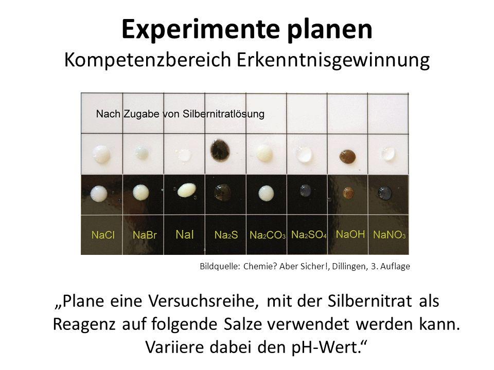 Experimente planen Kompetenzbereich Erkenntnisgewinnung Plane eine Versuchsreihe, mit der Silbernitrat als Reagenz auf folgende Salze verwendet werden