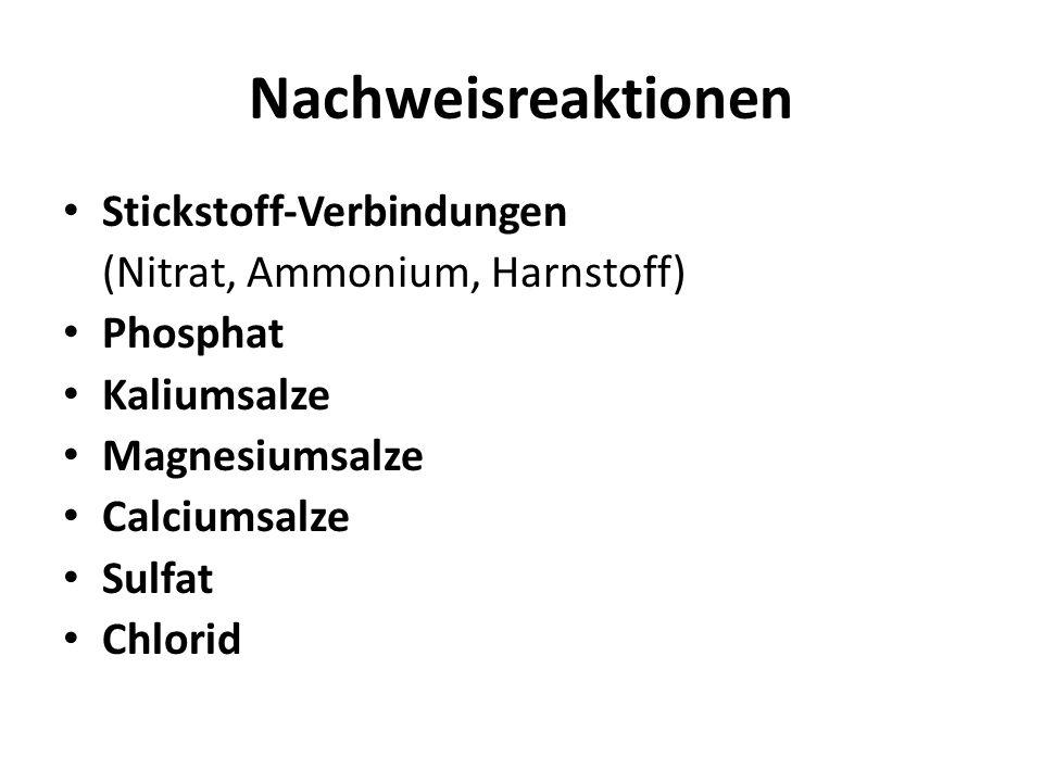 Nachweisreaktionen Stickstoff-Verbindungen (Nitrat, Ammonium, Harnstoff) Phosphat Kaliumsalze Magnesiumsalze Calciumsalze Sulfat Chlorid