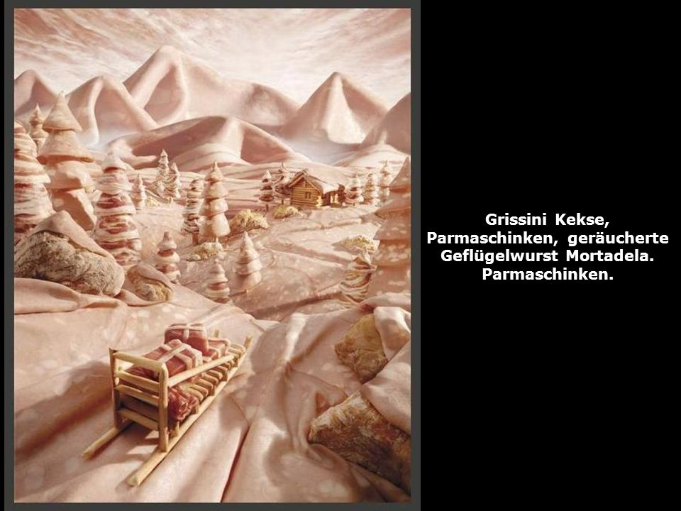 Grissini Kekse, Parmaschinken, geräucherte Geflügelwurst Mortadela. Parmaschinken.