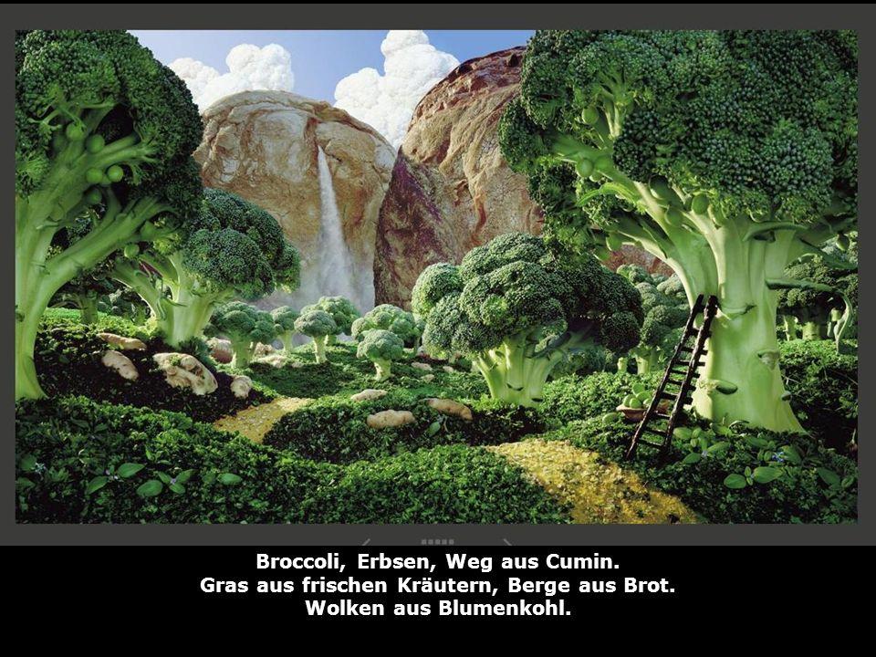 Broccoli, Erbsen, Weg aus Cumin. Gras aus frischen Kräutern, Berge aus Brot. Wolken aus Blumenkohl.