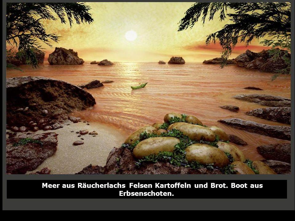 Meer aus Räucherlachs Felsen Kartoffeln und Brot. Boot aus Erbsenschoten.